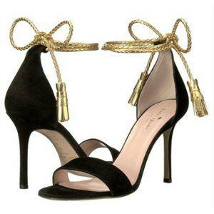 Kate Spade Inez Black Suede Wraparound Sandal 7